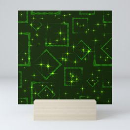 Green rhombuses and squares at the intersection with the stars on a grassy background. Mini Art Print
