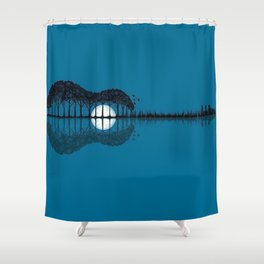 Trees Sea And The Moon Turned Guitar Shower Curtain