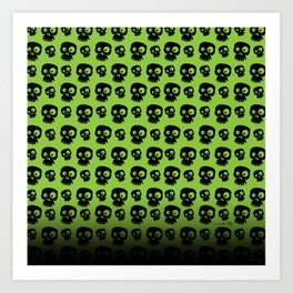 Skulls - green/black Art Print