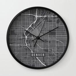 Denver Map, USA - Gray Wall Clock
