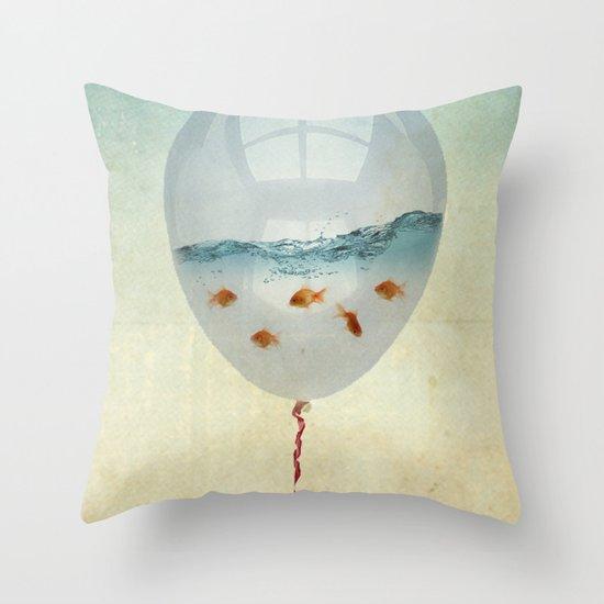balloon fish o2, freedom in a bubble Throw Pillow