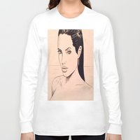 angelina jolie Long Sleeve T-shirts featuring angelina jolie by Justinhotshotz