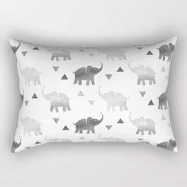 Elephants and Triangles - Silver Rectangular Pillow