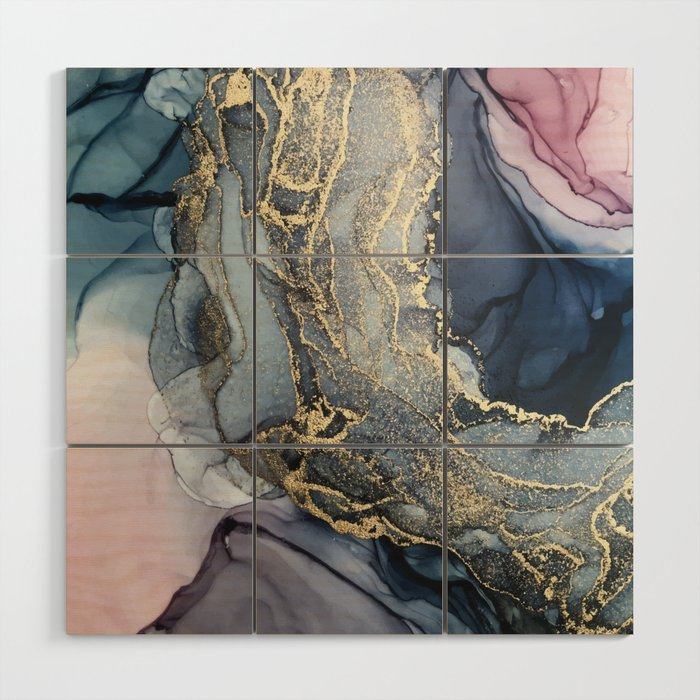 Blush, Payne's Gray and Gold Metallic Abstract Wood Wall Art