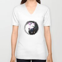 umbreon V-neck T-shirts featuring YIN YANG ESPEON AND UMBREON by Cursed Rose
