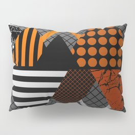 Industrial Geometry - Metallic, geometric, bronze, silver and gold, textured, patterned artwork Pillow Sham