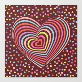 multi-colored rainbow heart on dark brown background. 3D Canvas Print