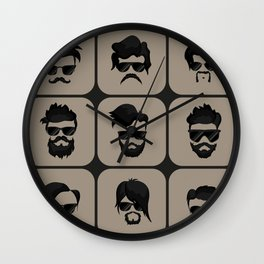 mustache, beard and hairstyle hipster Wall Clock