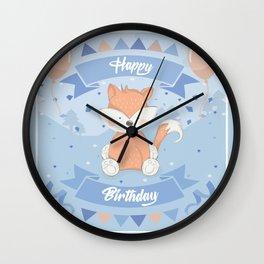Happy Birthday Fox Wall Clock