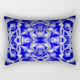silver and blue Digital pattern with circles and fractals artfully colored design for house Rectangular Pillow