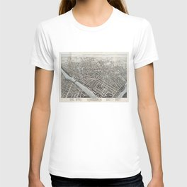 Vintage Pictorial Map of Lowell MA (1876) T-shirt
