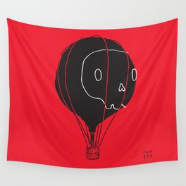Hot Air Balloon Skull Wall Tapestry