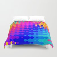 hippy Duvet Covers featuring Totally Psychedelic Hippy Pattern by Kirsten Star