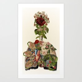 inhale life, exhale love - anatomical collage art by bedelgeuse Art Print