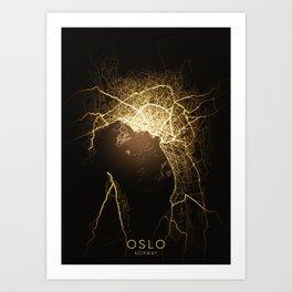 oslo norway city night light map Art Print