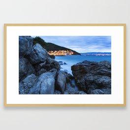 Nightshot of Mošćenička Draga - Croatia Framed Art Print
