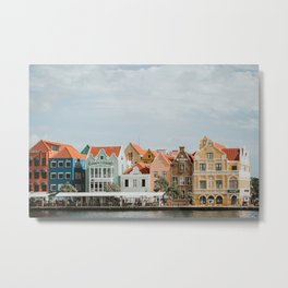 Happy Harbor Houses of Willemstad | Colourful Travel Photography | Curaçao, Antilles Metal Print