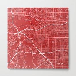 Pomona Map, USA - Red Metal Print