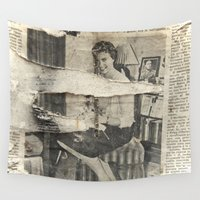 newspaper Wall Tapestries featuring Yesterday by Victoria Herrera
