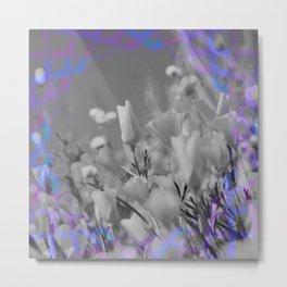 Retro Glitch Poppy Print Boho Futuristic Retro Weird Floral Metal Print