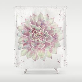 Big Succulent Watercolor Shower Curtain