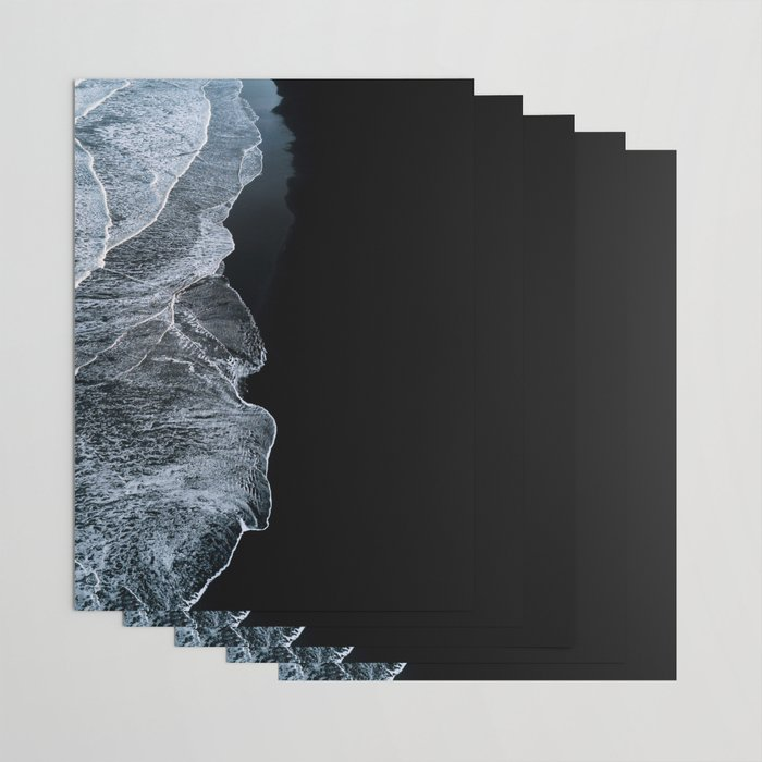 Waves on a black sand beach in iceland - minimalist Landscape Photography Wrapping Paper
