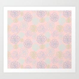 pink florals Art Print