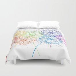 Rainbow dandelions Duvet Cover
