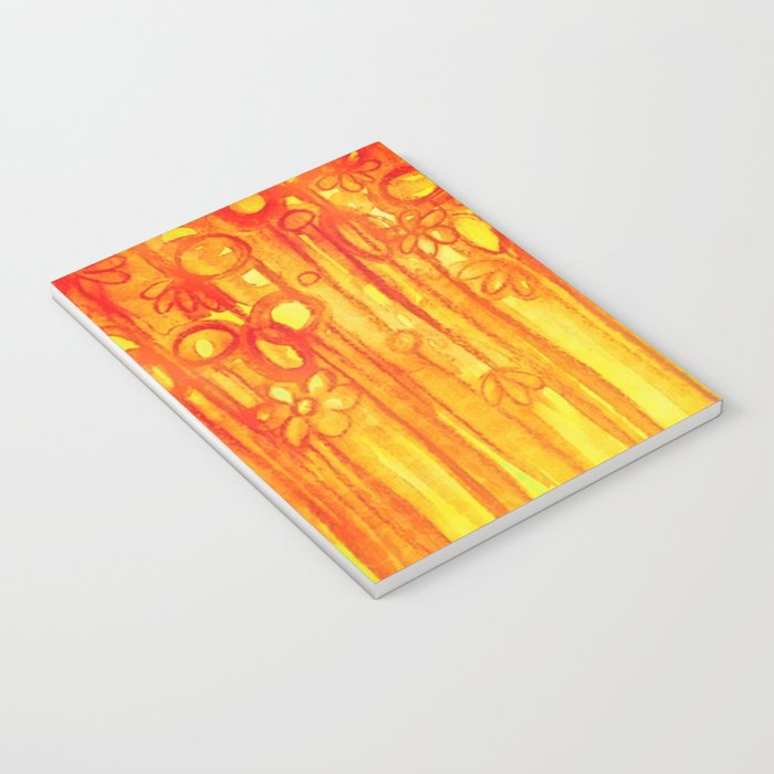 SUMMER SENTIMENTS - Bright Abstract Floral Garden Bold Summer Yellow Red Orange Flowers Painting Notebook