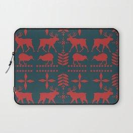 Scandinavian Reindeer With Kiwi Pattern Laptop Sleeve