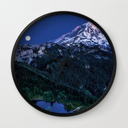 Mountain and Full Moon 2017 Wall Clock