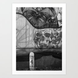 Skulls and Skating (Black and White) Art Print