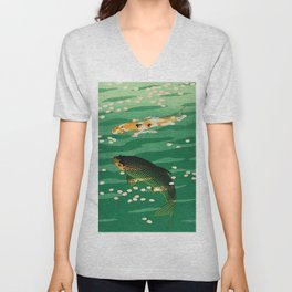 Vintage Japanese Woodblock Print Asian Art Koi Pond Fish Turquoise Green Water Cherry Blossom Unisex V-Neck