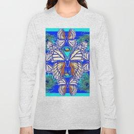 TURQUOISE & CREAM COLORED BUTTERFLIES  BLUE PEACOCK ART Long Sleeve T-shirt