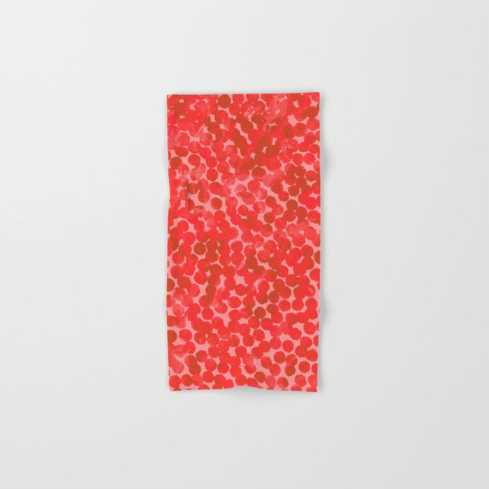 Coral Red Dots Hand & Bath Towel