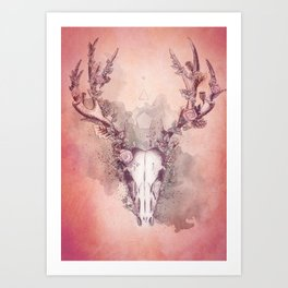 Woodland Stag in Red Art Print