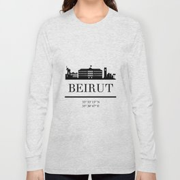 BEIRUT LEBANON BLACK SILHOUETTE SKYLINE ART Long Sleeve T-shirt