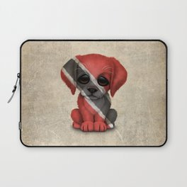 Cute Puppy Dog with flag of Trinidad and Tobago Laptop Sleeve