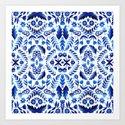Folk Art Flowers - Blue and White by sewzinski
