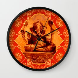 GANESHA - orange Wall Clock