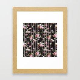 Elegant faux rose gold black stripes vintage blush pink lavender floral Framed Art Print