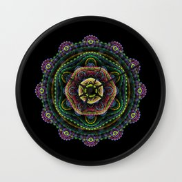 Fractal mandala on black Wall Clock