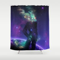 titan Shower Curtains featuring Wolfgun: Titan by electric GHOST