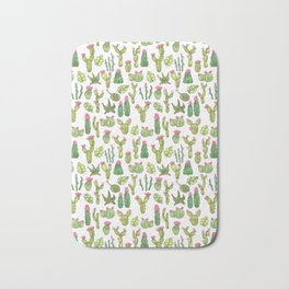 watercolor blooming cacti and succulents Bath Mat