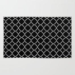 White on Black Quatrefoil - Baby Stimulation Pattern Rug