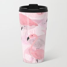 Flamingo Pattern Metal Travel Mug