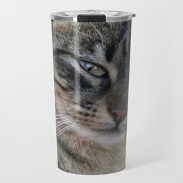 Inquisitive Tabby Cat With Green Eyes  Travel Mug