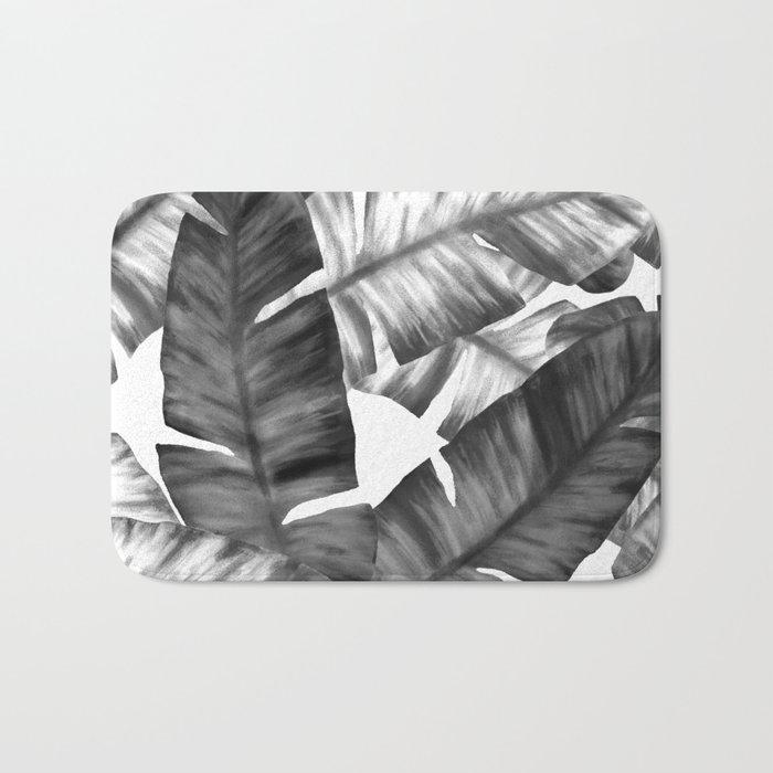 Black And White Tropical Banana Leaves Pattern Bath Mat