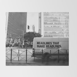 New York Post Truck, Manhattan Throw Blanket