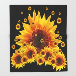 Raining Yellow Sunflowers Decorative Black Pattern  Throw Blanket